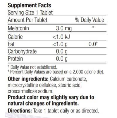 eticheta ingrediente melatonina 3 mg calivita
