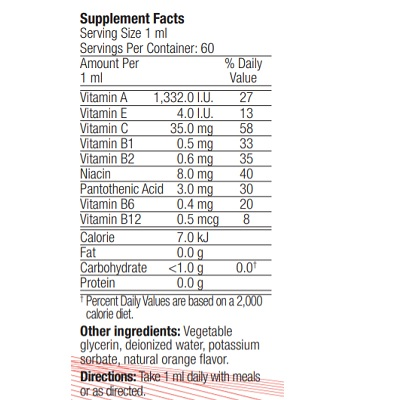 eticheta cu ingrediente pentru pre steps daily calivita multivitamine copii