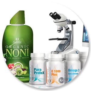 produse calivita langa microscop